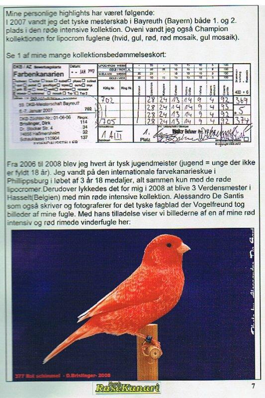 """Bericht in der dänischen Vogelzeitung """"Norsk RaseKanari"""""""