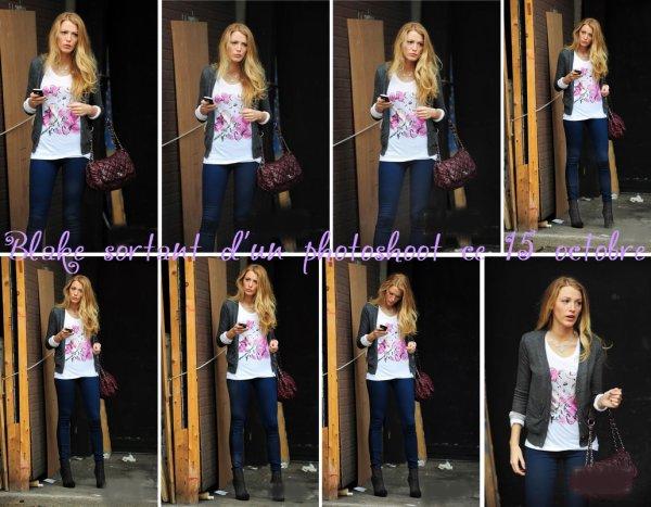 15.10.10 : Blake a été aperçue ce 15 octobre, tôt dans la matinée, sortant d'un studio dans lequel elle a effectué un photoshoot. La belle portait à la sortie du studio un tee-shirt Saks Key to the Cure. Espérons voir très bientôt ce nouveau shoot!  ...