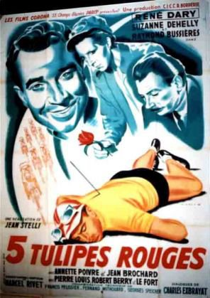 1949. CINQ TULIPES ROUGES