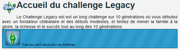 Le début du Challenge Legacy !