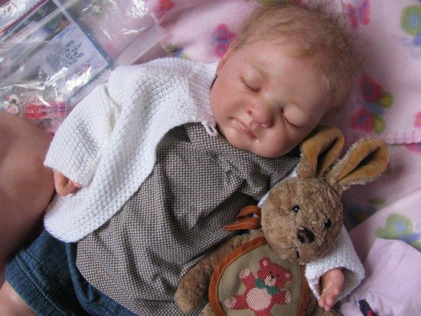 Lilia est un bébé issue du kit Lilia de Nathalie Blick, elle mesure 51 cm pour 2,800 kg de tendresse, elle a été créée par Christel de la Nurserie des Bibous.