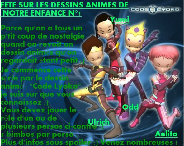 Fête sur les dessins animes de notre enfance n°1