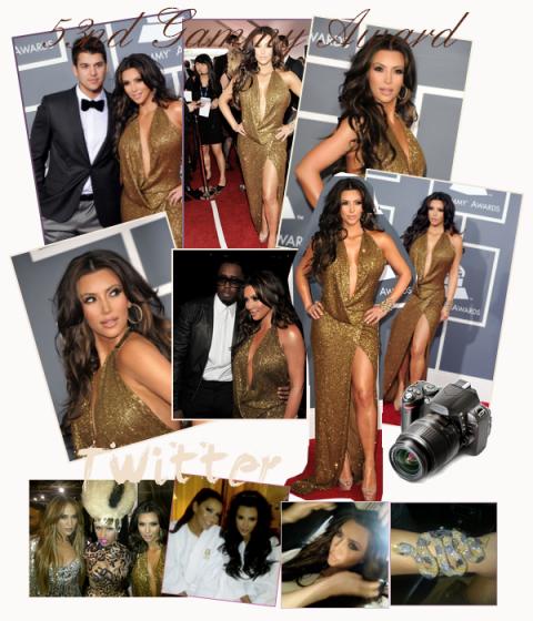 13/02/11 53nd Grammy Award Gros top pour Kim avec c'est meche marron J'adorreeee !