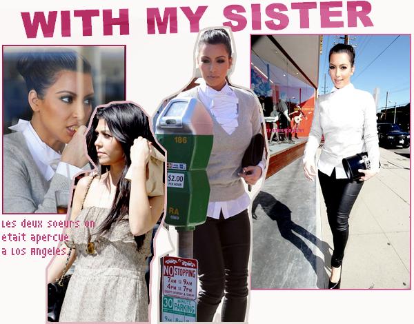 PINK DARLING : Kim a etais apercue en plein tournage de la reality show .  WITH MY SISTER : Kim et Kourtney on etait vue a Los angeles une fesent le shopping a Diavolina et elle et aller mange dans un restaurant et l'autre se baladent