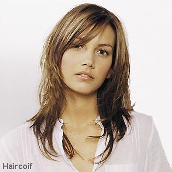 Coupe de cheveux mi long avec frange longue