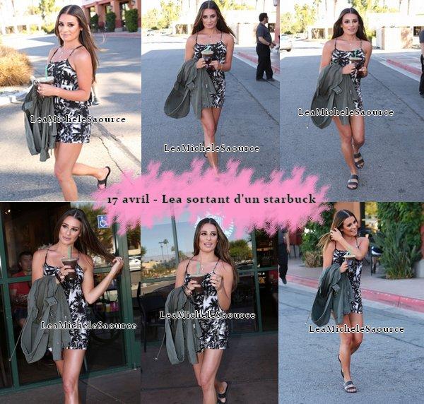 #Candid 2 - Le 17 avril Lea a été vue sortant d'un Starbuck