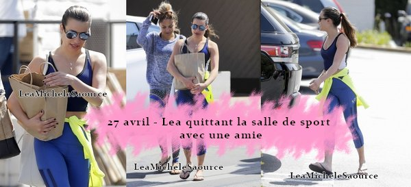 #Candid 4 - Le 27 avril Lea à était vue les bras chargés quittant la salle de sport à Brentwood avec une amie