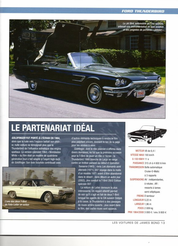 collection les voitures de james bond ford thunderbird de 1964 dans goldfinger blog de. Black Bedroom Furniture Sets. Home Design Ideas