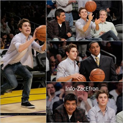 Zac Efron a un match des lackers vs suns