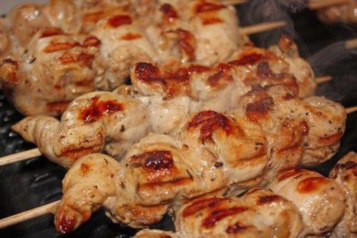 brochette de poulet marine