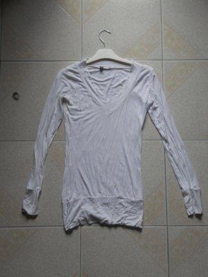 Basic tee shirt blanc manche longue col V