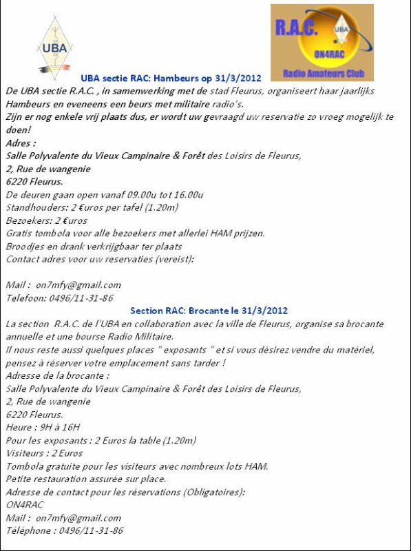 Section RAC : brocante le 31/03/2012.