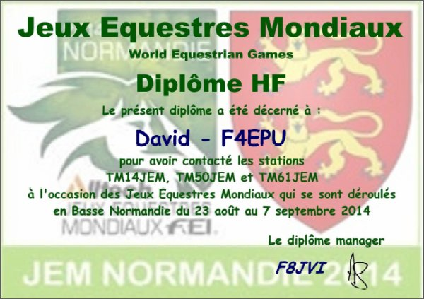 Diplôme des jeux équestres mondiaux.