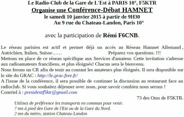 QSP de F5KTR : conférence / débat sur le réseau HAMNET.