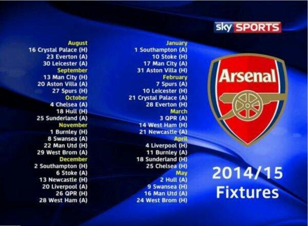 Voici le calendrier de Pl des Gunners 2014/2015.  La première journée débutera le 16 Août à domicile face à Crystal Palace.
