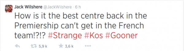 """Jack Wilshere s'est aussi interrogé sur twitter sur la non titularisation de Laurent Koscielny en équipe de France   :""""Comment se fait-il que le meilleur défenseur central de Pl ne soit pas titulaire en équipe de France ?"""""""