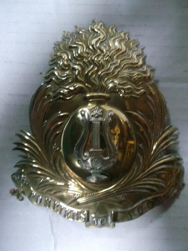 plaque de casque modèle troisième république pompier-musicien