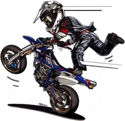 Dessin de moto 1 motard en force regarde bien dans - Dessin moto trial ...