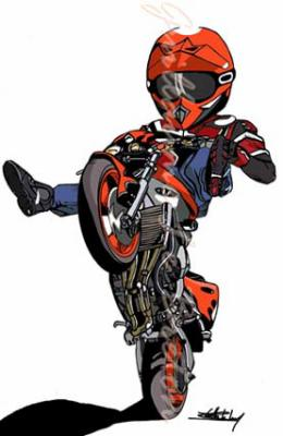 Dessin de moto 3 motard en force regarde bien dans tes retros - Dessin tuning ...