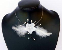 """Collier pour la mariée""""plumes et fleurs"""""""