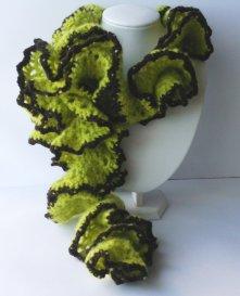 Echarpes tortillon vert olive et marron