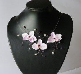 Collier orkidée blancfuchsia