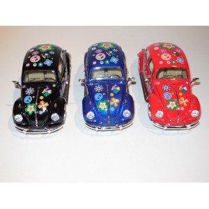 Lot de 3 Cox coccinelle Miniature Métal Volkswagen couleur avec fleurs Echelle 1:24