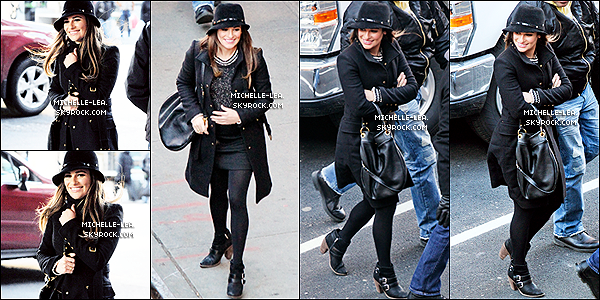 . 13/03/14 :  Lea Michele a été aperçu sur le tournage de Glee dans les rues de New-York City (USA).  Lea de retour sur le   set de Glee, Lea est superbe dans cette tenue noire. un petit top  pour Lea Ton avis ? .
