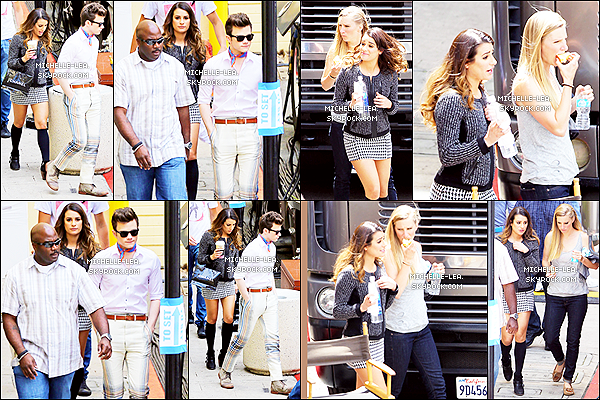. 01/05/14 :  Lea Michele a étéphotographiée sur le set de Glee avec Chris & Heather à  Los Angeles . Un jolie top pour notre Rachel Berry ! + Lea quittant le set de Glee un Top.. !  .