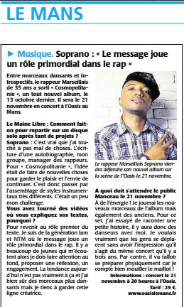 """Article dans """" La maine Libre"""" avant mon concert au Mans de ce vendredi :-) Il reste très peu de places pour les concert de la semaine  Rdv ici pour réserver -> http://bit.ly/1szHrDh  Jeudi à Caen, Vendredi au Mans & Samedi à Beauvais #CosmoTour"""