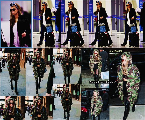 23/03/16 - Cara Delevingne a été photographiée à l'aéroport d'Orly à Paris pour se rendre à New York.  Le 24/03, Cara D. a été photographiée alors qu'elle se promenait dans la grande ville de New York. Tenue coup de coeur, énorme top !
