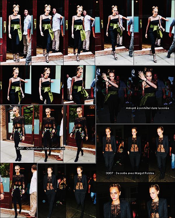 29/07/16 - L'actrice et mannequin Cara Delevingne a été aperçue quittant son hôtel situé dans New York.  Trop mignonne sa coiffure, côté make up, c'est l'un de ceux qui vont le mieux à Cara. Que pensez-vous du look globale de notre anglaise?