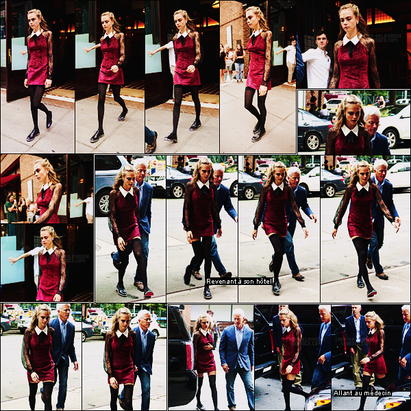 01/08/16 - Premier jour d'Août et Cara Delevingne quittait son hôtel  pour se rendre au Today Show, NY.  Cara a ensuite été revue deux fois au cours de cette journée, elle portait la même robe bordeaux. La belle nous gâte de superbes tenues