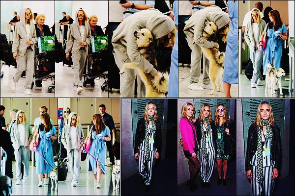 09/09/16 - Cara Delevingne a été aperçue de retour à Londres en arrivant à l'aéroport Heathrow, - UK.   Et c'est très attendu qu'était Cara puisque Léo était là bien décider à lui montrer sa joie de son retour. Côté tenue, je ne sais pas quoi dire..