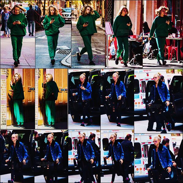 10/10/16 - La mine fatiguée, Cara Delevingne aperçue regagnant l'appartement de Taylor Swift à N-Y.   Cara a été photographiée le lendemain alors qu'elle allait rendre visite à quelqu'un à l'hôpital Mount Sinai dans New York City, TOP !