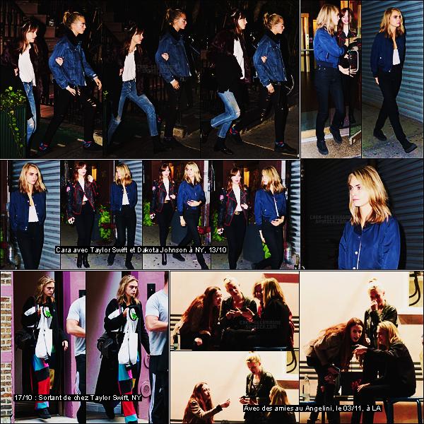 11/10/16 - Le soir, Cara Delevingne était avec Dakota Johnson dans les rues de la grande ville de NY.  Encore une sortie entre copines pour Cara à qui ça ne peut faire que du bien. J'aime bien son jean et sa veste en jean elle aussi. Un top.