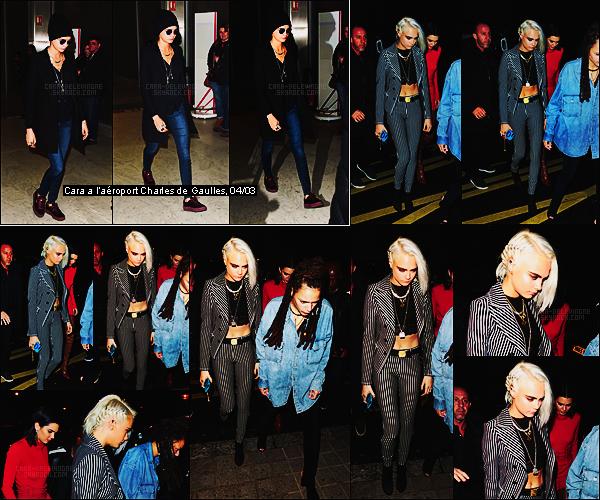 04/03/17 - Dans la soirée, Cara Delevingne a été repérée arrivant à l'hôtel  Royal Monceau situé à Paris.  Cara était accompagnée de ses copines Sasha Lane et Kendall Jenner.Nouvelle couleur qu'elle aurait du laisser cacher sous son bonnet