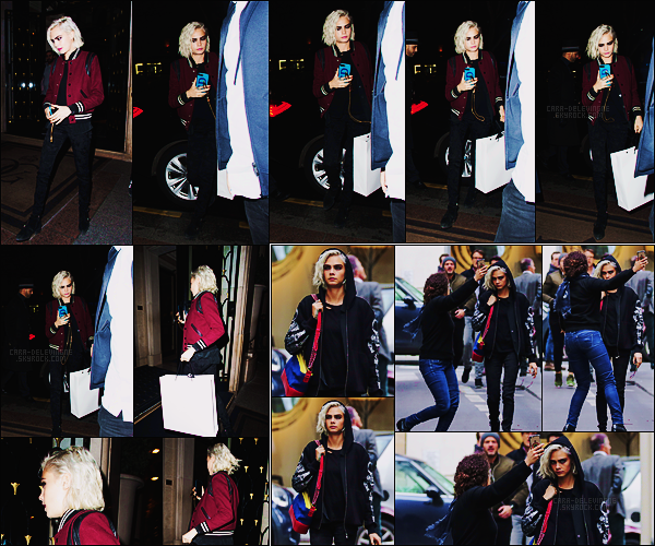 22/03/17 - Dans la soirée, Cara Delevingne a été vue, après du shopping, arrivant à son hôtel de Paris.  Dans la journée, Cara avait été vue dans Paris accaparée par une jeune femme quelque peu collante. Côté tenue, elle était très belle, top