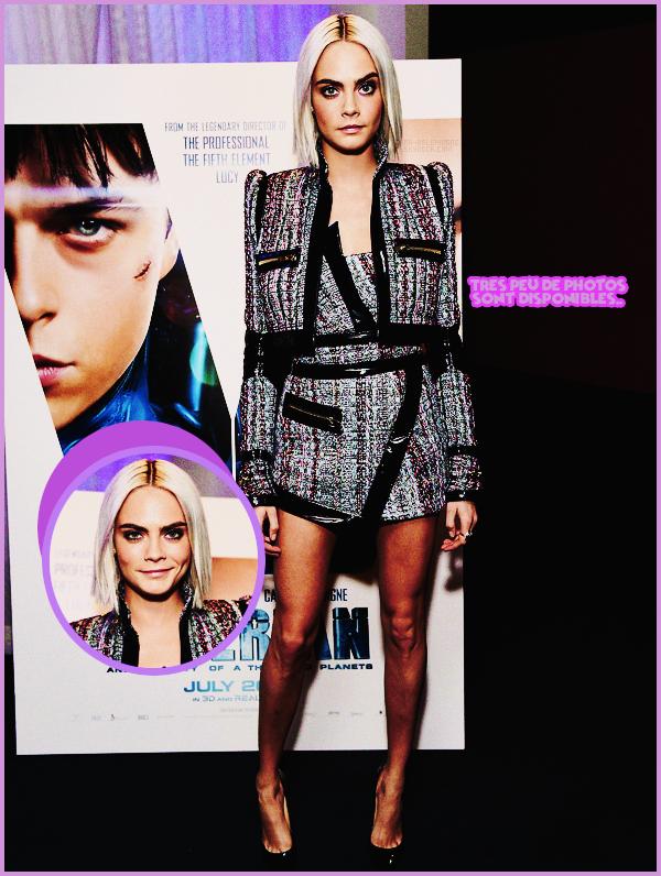 . ● Le 27/03, Cara Delevingne s'est rendue à la diffusion du trailer de Valérian à Los Angeles, CA.  .