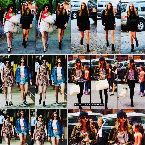 28/09/15 - Cara Delevingne était de sortie pour le déjeuner avec sa petite amie Annie dans - New York. Plus tôt dans la journée, elle avait déjà été vue avec Annie dans les rues de New York. Cara s'est donc changée entre temps, deux tops !