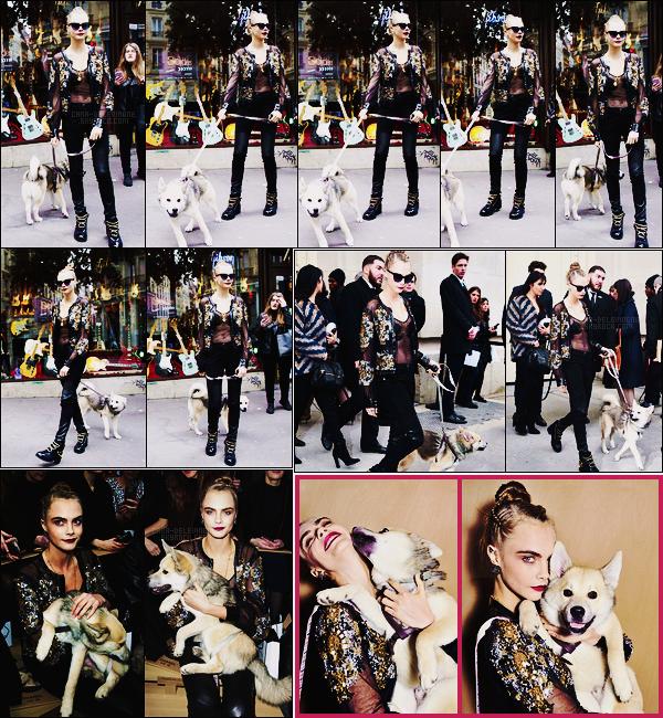 26/01/16 - Cara Delevingne devant le magasin The Guitar Legend avec sa boule de poil Léo, dans Paris Plus tard, Cara est allée au défilé Chanel toujours avec Léo au premier rang. + je vous rajoute deux portraits de Cara datant du jour-même