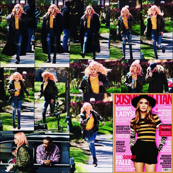 04/05/17 - Notre belle Cara Delevingne a été aperçue sur le set de son film  Life in a Year - à Toronto.  Retour de la perruque rose en vue. ++ Cara est en couverture du magazine Cosmopolitan en Allemagne pour son issue de juin 2017.