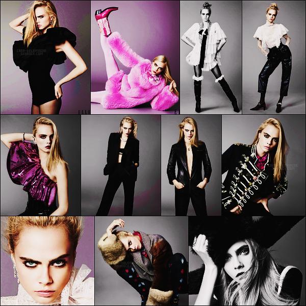. Découvre le shoot de Cara Delevingne pour le magazine Elle au Royaume Unis, sept 17.  .