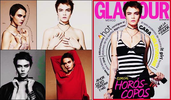 .  Cara Delevingne en couverture de Glamour  Mexique pour son édition de Février 2018  .