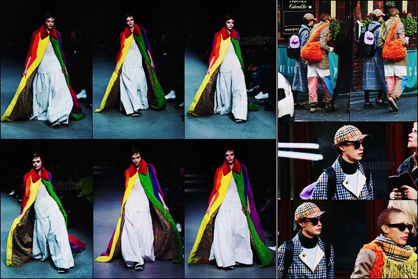 17/02/18 - Cara Delevingne s'est présentée pour clôturer le défilé  Burberry de la Fashion Week à  Londres. Couverte d'une cape aux couleurs LGBT, Cara foulait pour la première fois depuis longtemps un podium.+ Elle a été repérée en sortant !