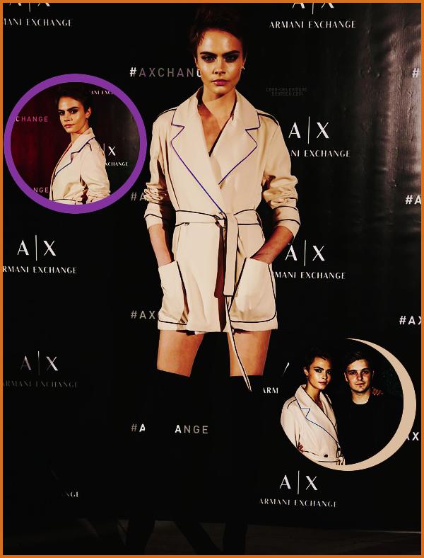 . ● Le 23/03, Cara Delevingne était à une soirée organisée par Armani Exchange  dans Miami.  .