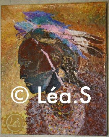 Crazy Horse - huile sur toile, Léa.S