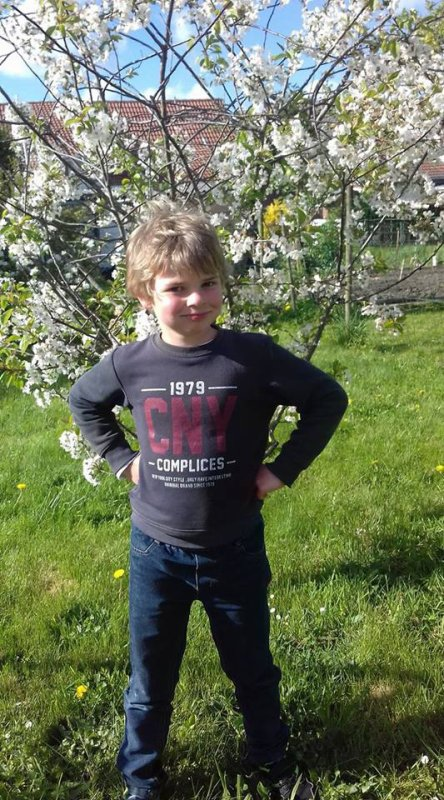 Mon garçon devant Mon cerisier