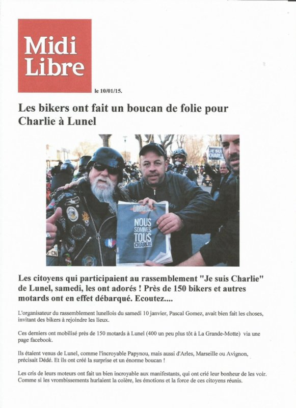 HOMMAGE AUX VICTMES DE CHARLIE HEBDO. LE 10/01/2015