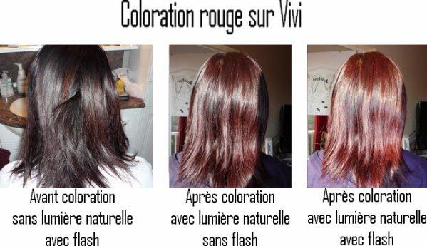 Coloration rouge vif sur cheveux noir